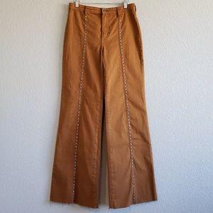 Free People | Flare Leg Raw Hem Studded Jeans EUC